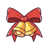 Christmas bells and red bow. stock illustration