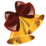 Christmas bells with red bow Stock Photos
