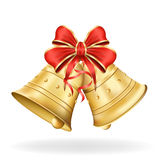 Christmas bells with red bow on white background. Xmas decorations. Vector eps10 illustration royalty free illustration