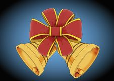 Bells with red bow christmas decoration. Christmas bells with red and gold ribbon over a blue background. Christmas decoration. Xmas ornament Stock Photography