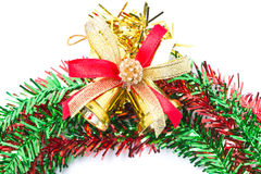 Christmas Bells With Red And Green Wreath. Stock Photo