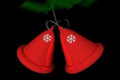 Christmas Bells. Red bells of Christmas over black background, 3D render royalty free illustration