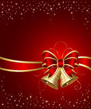 Christmas bells with red ribbon Royalty Free Stock Photography