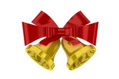 Christmas bells with red ribbon Royalty Free Stock Photo
