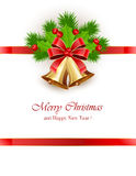 Christmas bells with red ribbon Stock Photo