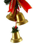 Christmas bells and red ribon. Christmas decoration golden bells Royalty Free Stock Image