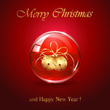 Christmas bells in red sphere Stock Photography