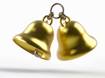 Christmas  bells. Rendering of golden bells isolated on white Royalty Free Stock Photo