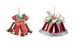 Christmas bells with ribbon Royalty Free Stock Images