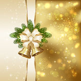 Christmas bells with ribbon Royalty Free Stock Photo