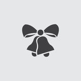 Christmas bells with ribbon icon in a flat design in black color. Vector illustration eps10 Royalty Free Stock Photos