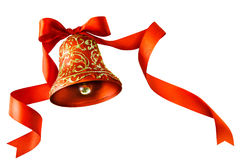 Christmas bells with ribbon isolated on white Stock Images