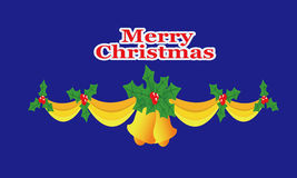 Christmas bells, ribbons, Holly Stock Image