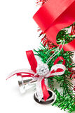 Christmas bells. Silver Christmas bells decorating with red ribbon Royalty Free Stock Images
