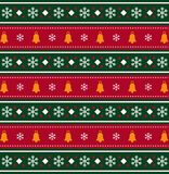 Christmas bells and snow flakes pattern on red and green striped. Background. Christmas background, vector illustration Royalty Free Stock Photo