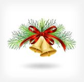 Christmas bells with tree decorations Royalty Free Stock Photography