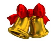 Christmas bells. Two Christmas bells with a red silk bow. 3d image. Isolated white background royalty free illustration