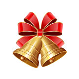Christmas Bells With Red Bow Stock Images