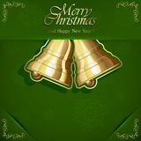 Christmas bels on green background Stock Images