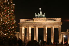 Christmas in Berlin. The Brandenburger Tor with a Christmas Tree Stock Photo