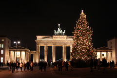 Christmas in Berlin II. Christmas tree on the Brandenburger Tor Royalty Free Stock Images