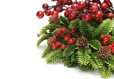 Christmas berries. Christmas background with berries and wreath Stock Image