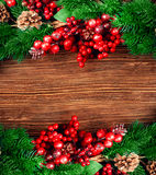 Christmas berries and spruce branch Stock Image
