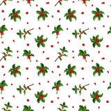 Christmas berry decoration seamless pattern Royalty Free Stock Photography