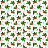 Christmas berry decoration seamless pattern Stock Photos
