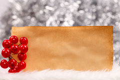 Christmas berry and old retro paper Stock Photo