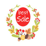 Christmas Best Sale Icon Surrounded by Wreath Royalty Free Stock Photography