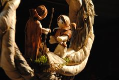 Christmas bethlehem made from straw - St. Joseph, the Virgin Mary and Jesus Stock Photos