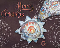 Christmas Bethlehem Star on brown night background. Christmas Eve. Holiday greeting card. Abstract illustration with ethnic pattern. Falling star, comet Royalty Free Stock Photos