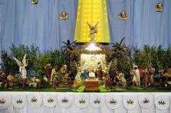 Christmas betlehem creche. Carved christmas betlehem creche made of wooden figures royalty free stock images