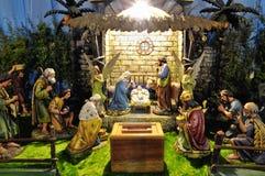 Christmas betlehem creche. Carved christmas betlehem creche made of wooden figures stock photo