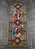 Christmas Bible Scenes. Stained Glass Window Biblical Scenes Munster Cathedral In Basel Switzerland Stock Image