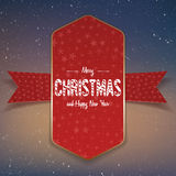 Christmas big red and gold Banner with Ribbon Stock Photography