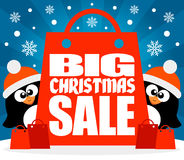 Christmas Big sale background with penguins vector Stock Photography