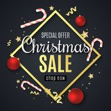 Christmas big sale banner. Red balls. Confetti and serpentine. Golden stars and lollipops. Diamond frame. Special offer. Scattered. Toys. Vector illustration royalty free illustration