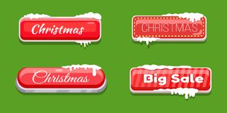 Christmas Big Sale Glossy Web Push Buttons in Snow. Christmas big sale glossy web push button covered with snow vector illustration online shopping signs Royalty Free Stock Image