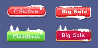 Christmas Big Sale Glossy Web Push Buttons in Snow. Christmas big sale glossy web push buttons covered with snow and decorated by Xmas trees vector online Stock Images