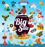 Christmas big sale with icons Stock Images