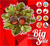 Christmas big sale with icons Royalty Free Stock Image