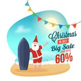 Christmas Big sale in July, poster, or banner template, happy Sa. Nta Claus, with date and discount upto 60% offers Royalty Free Stock Images