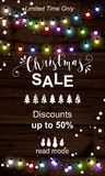 Christmas big sale. Offer poster vector background advertisement. Business sign on wood plank backdrop with twig and light bulbs for website, banners or print Royalty Free Illustration