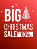 Christmas big sale poster. Christmas big sale red poster Stock Image