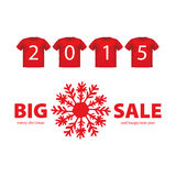 Christmas Big Sale red icon  with Snowflake symbol isolated background. Vector Royalty Free Stock Photography
