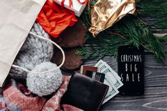 Christmas big sale. special christmas offer discount text on pho Stock Image