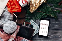 Christmas big sale. special christmas offer discount text on pho Royalty Free Stock Photography