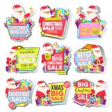 Christmas Big Sale Sticker Set Vector. Santa Claus. Template For Advertising. Discount Tag, Special Offer Banner. Up To. 50 Percent Off Badges. Black Friday stock illustration